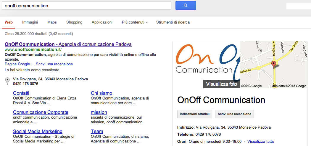 OnOff Communication - Risultato Google
